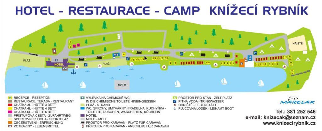 Mapa areálu Knížecí Rybník, ubytování Tábor
